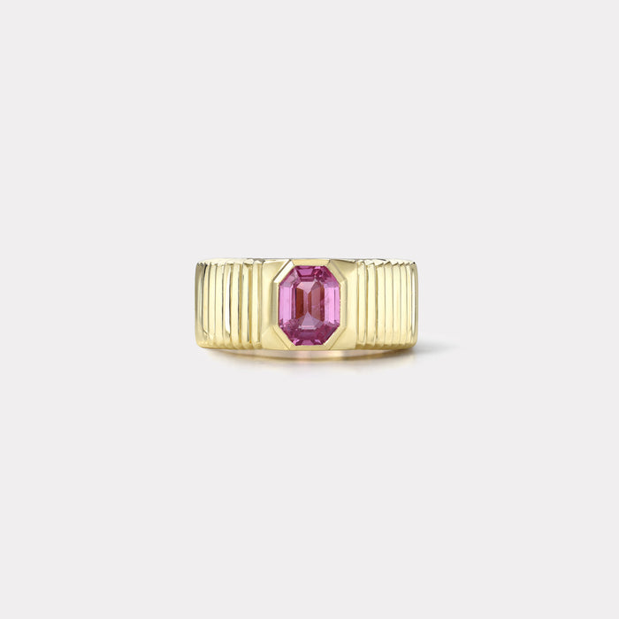 One of a kind Pleated Solitaire Band - 1.59ct Pink Sapphire