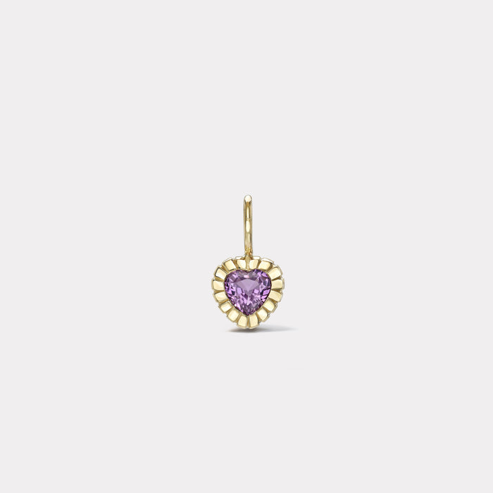 One of a Kind Heirloom Bezel 0.89ct Violet Sapphire Heart Charm
