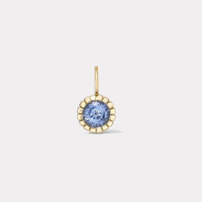 One of a Kind Blue Sapphire Heirloom Bezel Charm