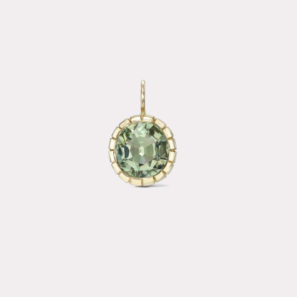 One of a Kind Mint Green Tourmaline Heirloom Bezel Charm