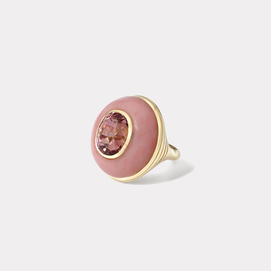 One of a Kind Lollipop Ring - Oval shaped 8.7ct Pink Tourmaline in Pink Opal