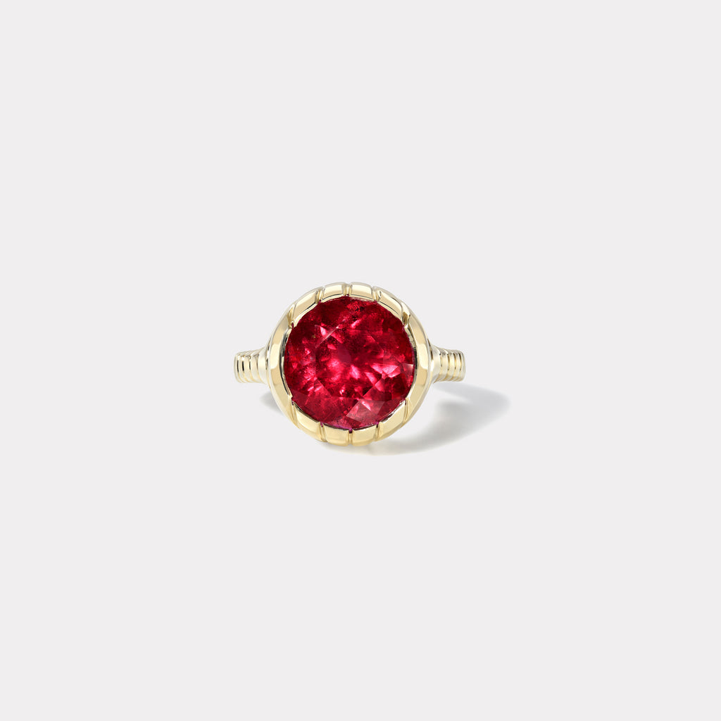One of a kind Heirloom Bezel 7.22ct Round Rubellite Ring