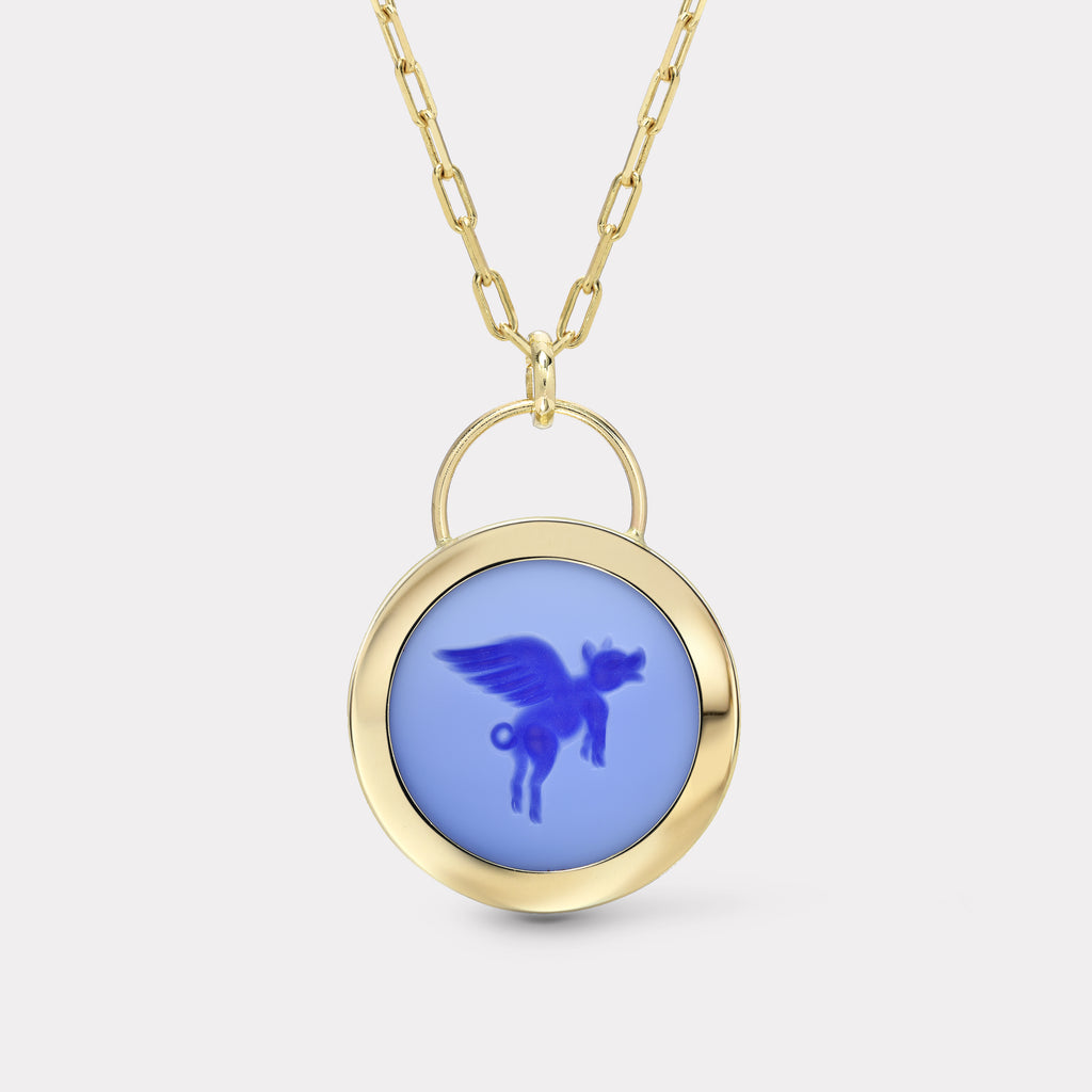 Flying Pig Signature Padlock Intaglio - Double Layer Blue Agate