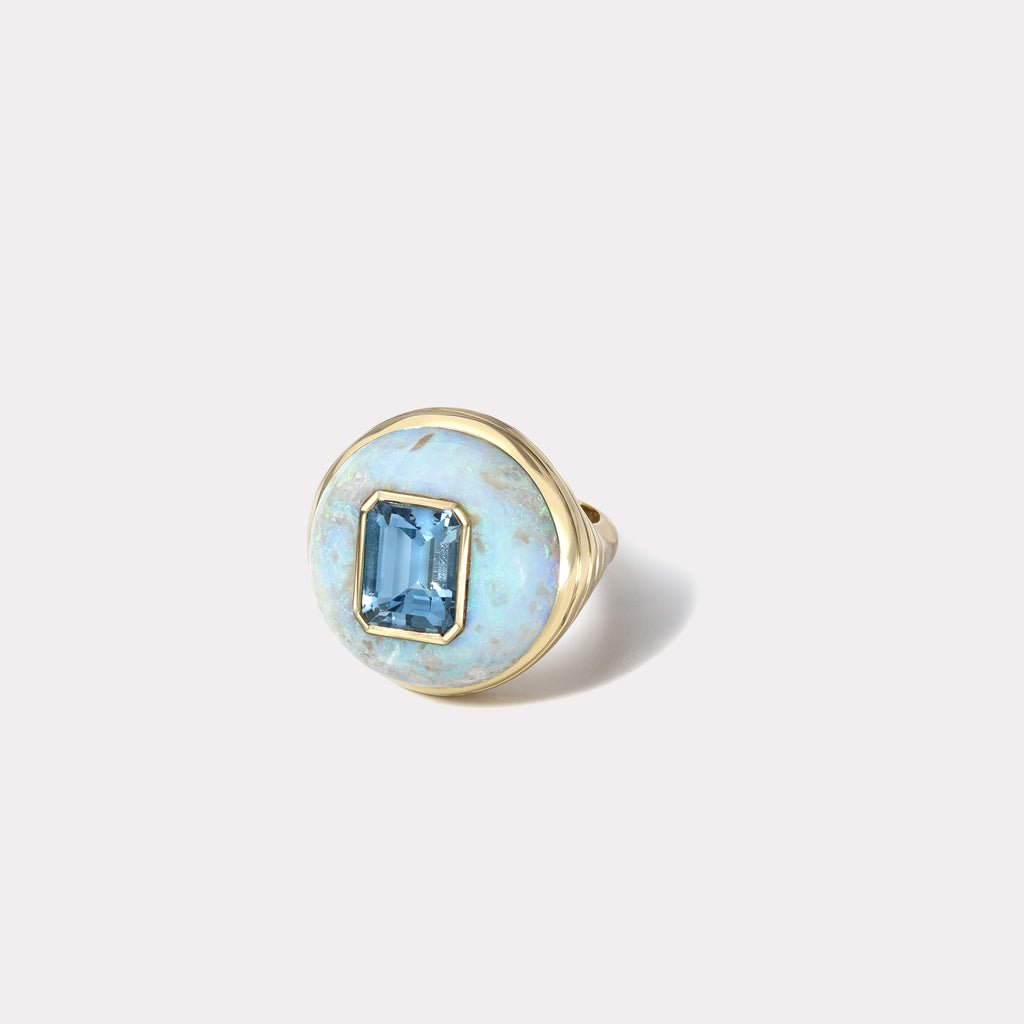 Petite Lollipop Ring - Emerald Cut Aquamarine in Australian Opal