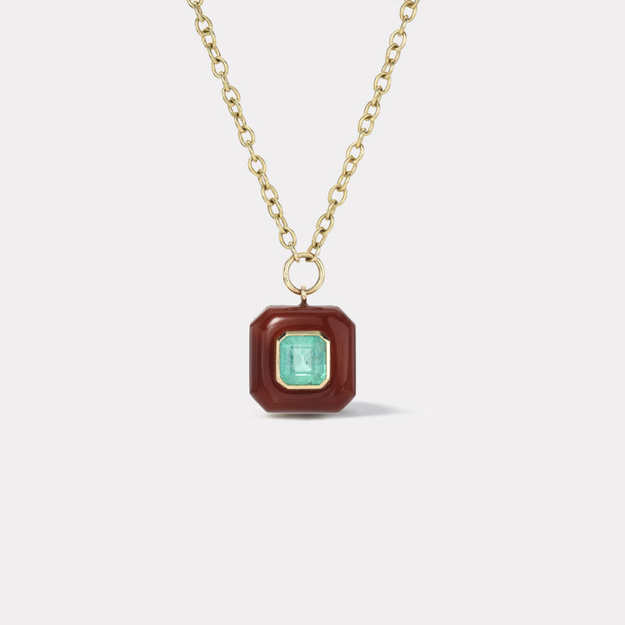 Small Lollipop Pendant - Emerald Cut Emerald in Carnelian