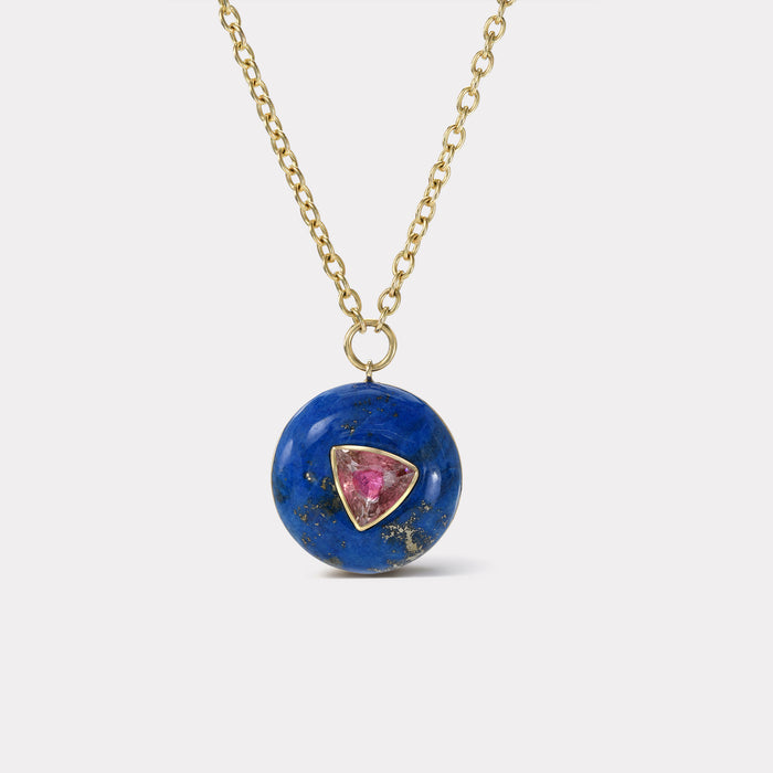 Small Lollipop Pendant - Trillion Cut Pink Tourmaline in Lapis