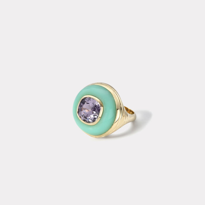 Petite Lollipop Ring - Lavender Spinel in Chrysoprase