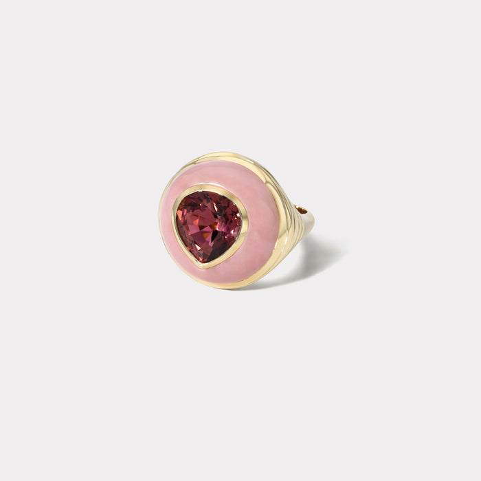 One of a Kind Lollipop Ring - Pear Red Tourmaline in Pink Opal