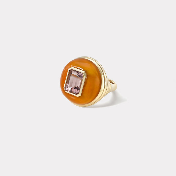 Petite Lollipop Ring - 2.46ct Emerald Cut Pink Tourmaline in Carnelian