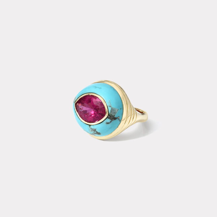 Petite Lollipop Ring - 3.57ct Marquise Rubellite in Turquoise