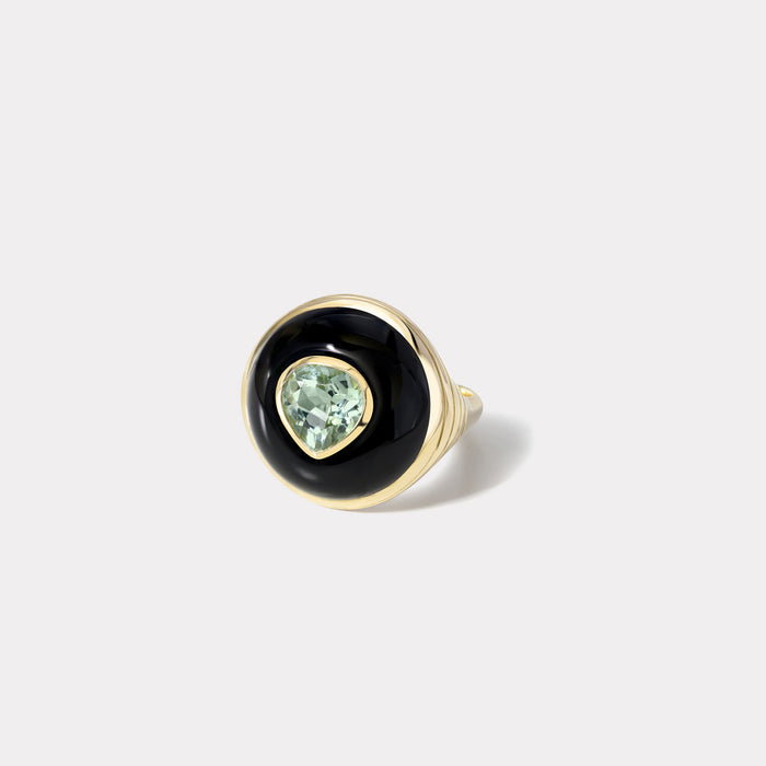 Petite Lollipop Ring - Green Tourmaline in Onyx