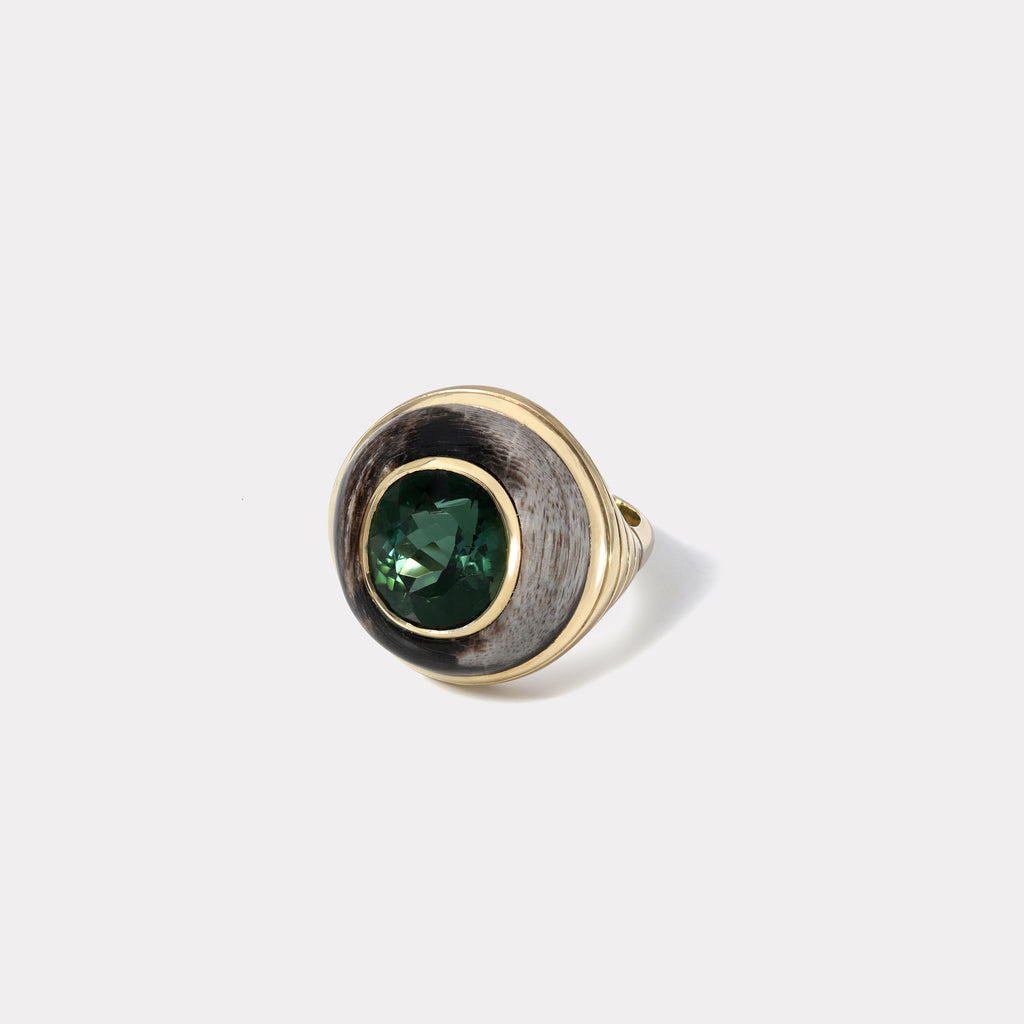 Petite Lollipop Ring - Oval Green Tourmaline in Petrified Wood