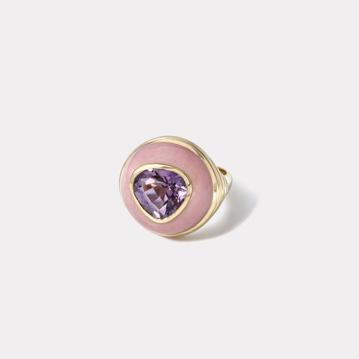 Petite Lollipop Ring - Pear Amethyst in Pink Opal