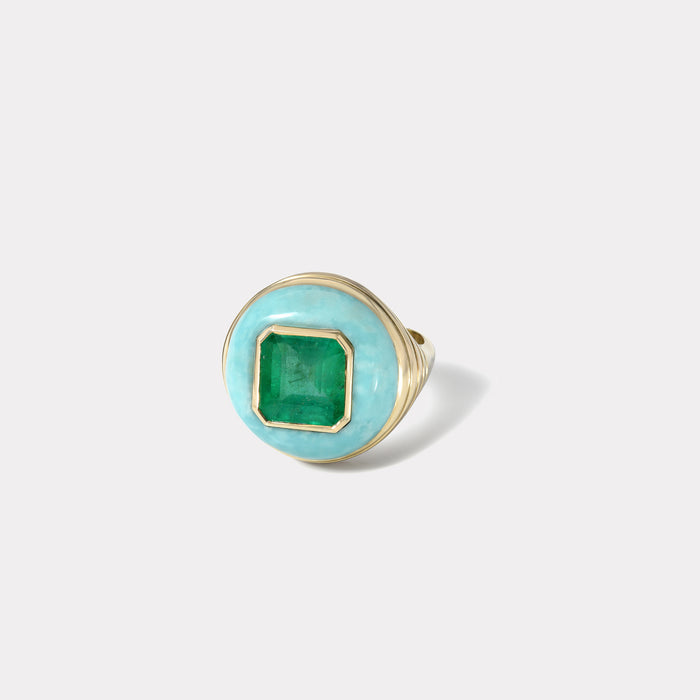 Petite Lollipop Ring - Emerald in Chrysoprase