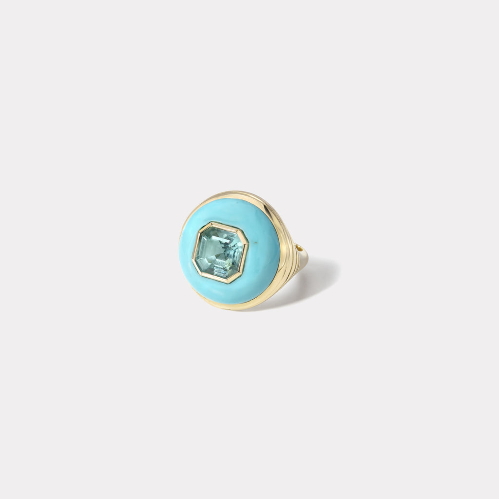Petite Lollipop Ring - Mint Green Tourmaline in Turquoise