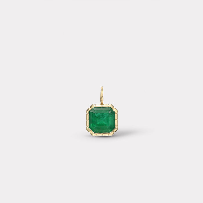 One of a Kind Heirloom Bezel Emerald Cut Emerald Charm