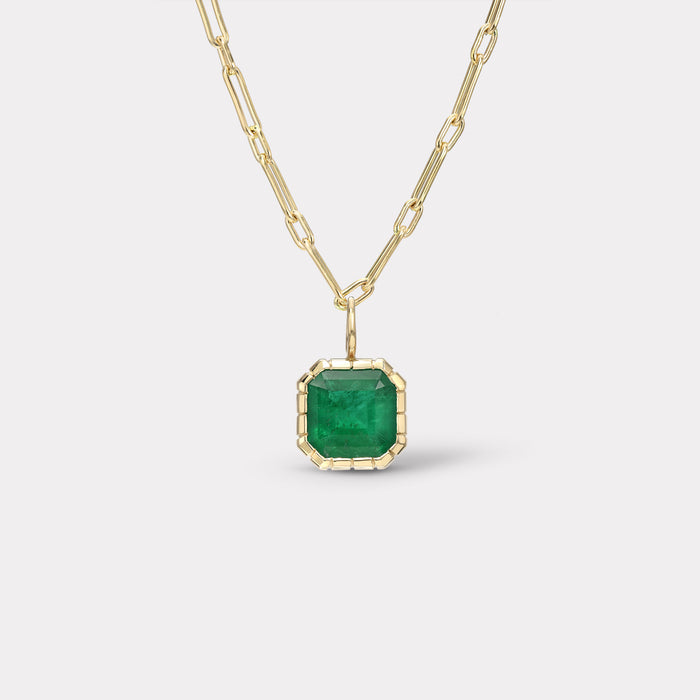 One of a Kind Heirloom Bezel Emerald Charm
