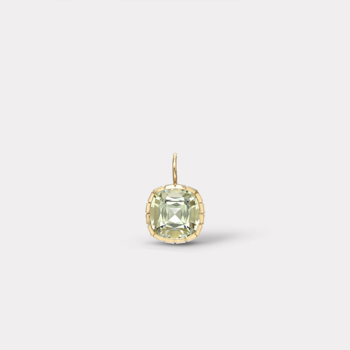 One of a Kind Heirloom Bezel Cushion Cut Tourmaline Charm