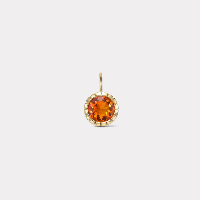 One of a Kind Heirloom Bezel Round Mexican Fire Opal Charm
