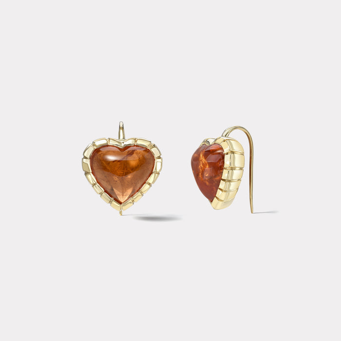 One of a Kind Heirloom Bezel 19.44ct Orange Tourmaline Heart Earrings