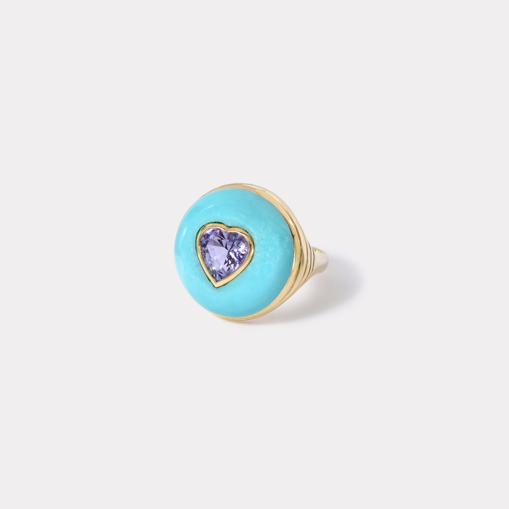 Petite Lollipop Ring - Tanzanite Heart in Turquoise
