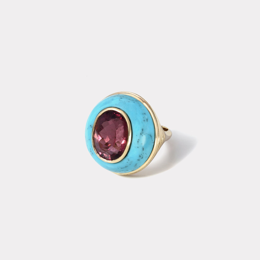 One of a Kind Lollipop Ring - Oval Cut Cherry Tourmaline in Turquoise