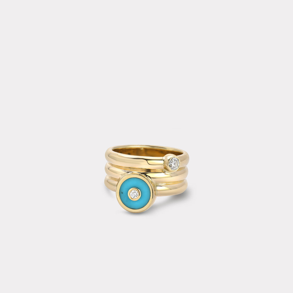 Triple Coil Mini Compass Ring - Turquoise