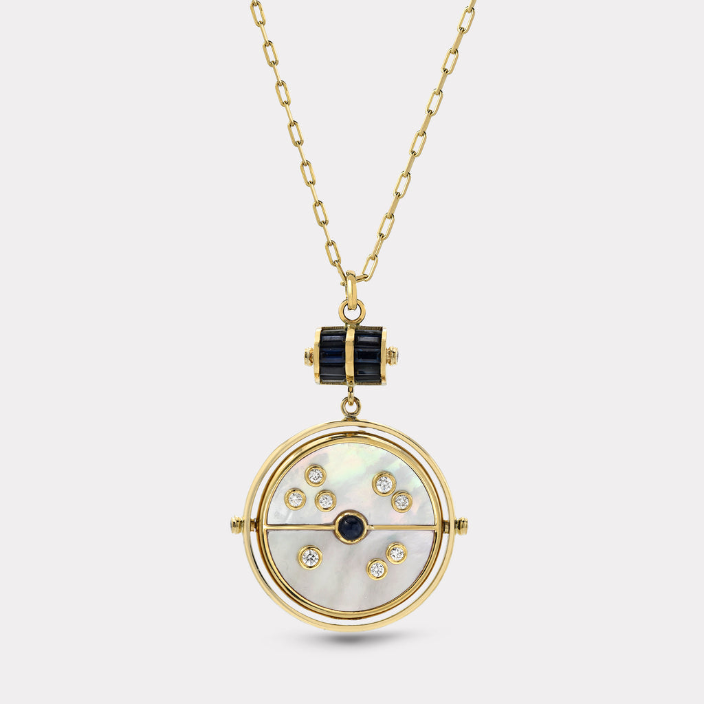 Grandfather Compass Pendant - White Mother of Pearl with Blue Sapphire