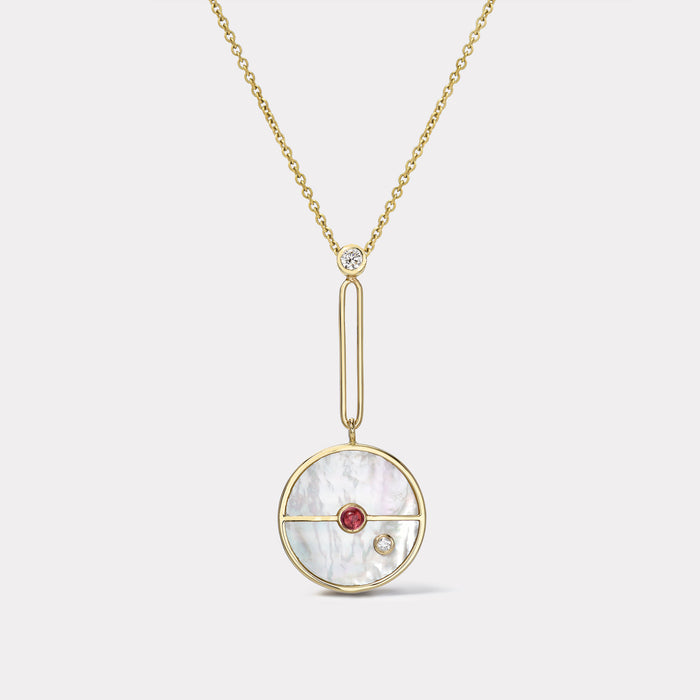 Signature Compass Pendant - White Mother of Pearl with Pink Spinel