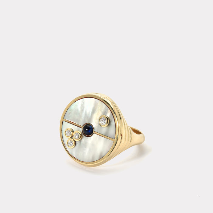 Compass Ring - Mother of Pearl / Sapphire