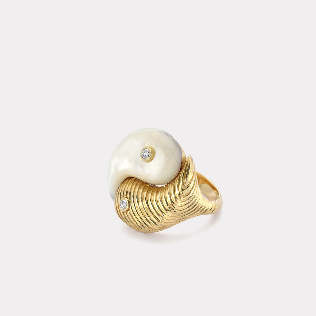 Yin Yang Ring - Mother of Pearl