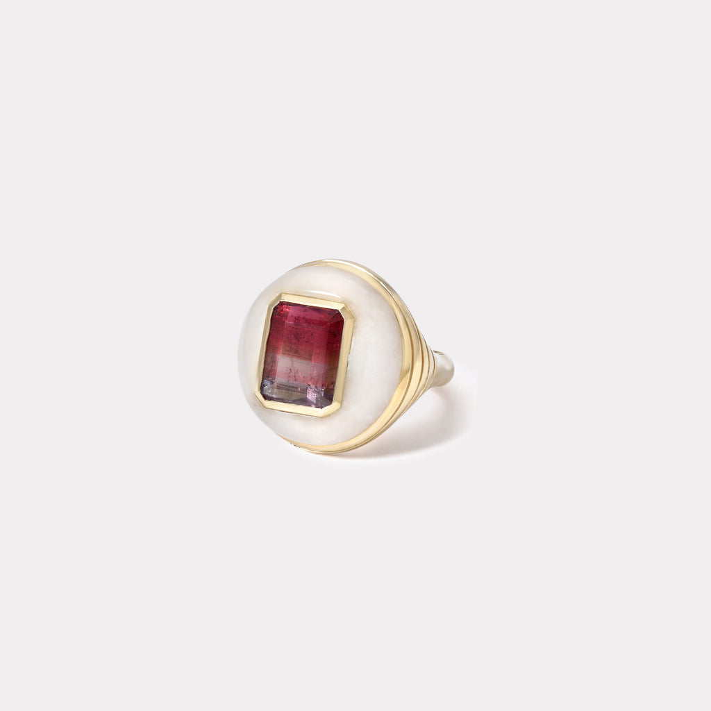 Petite Lollipop Ring - Bicolor Tourmaline in White Quartz