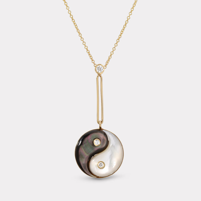 Double Stone Yin Yang Pendant - Dark and White Mother of Pearl