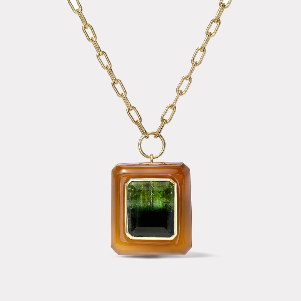 Lollipop Pendant - Emerald cut Bi-color Tourmaline in Carnelian