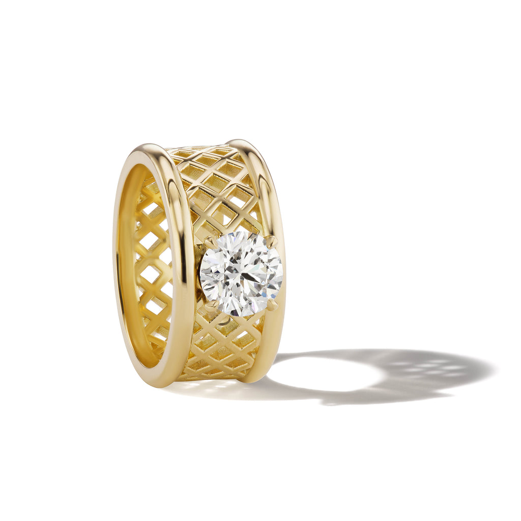 Basketweave Round Brilliant Diamond Cigar Band