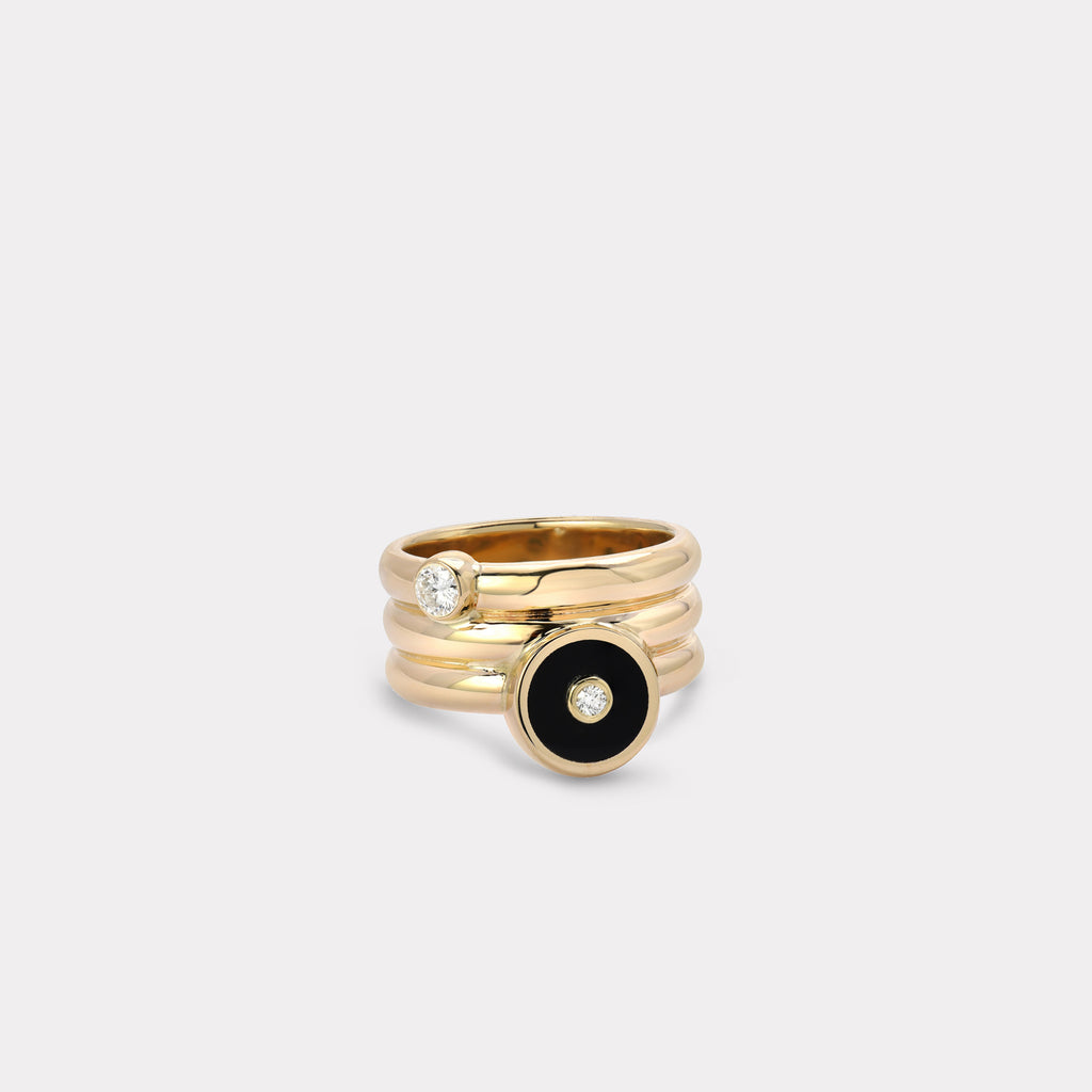 Triple Coil Mini Compass Ring - Black Onyx