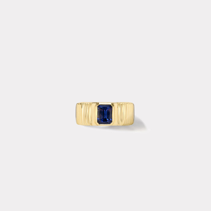 One of a kind Pleated Solitaire Band - Blue Sapphire