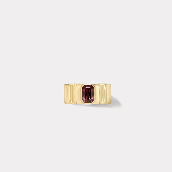One of a kind Pleated Solitaire Band - Color Change Cherry Garnet