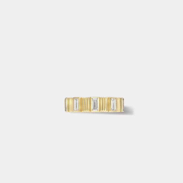 Pleated Five Stone Band - Baguette Cut Diamonds