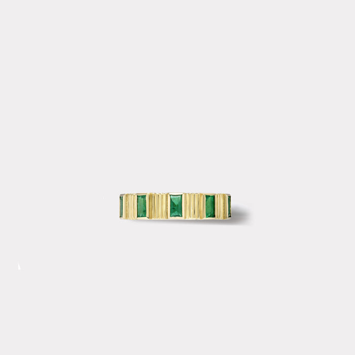 Pleated Five Stone Band - Baguette Cut Emeralds