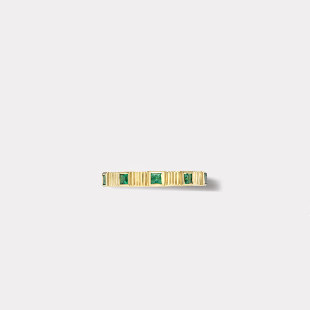 Pleated Five Stone Band - Carre Cut Emeralds
