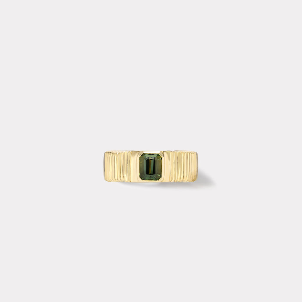 One of a kind Pleated Solitaire Band - Green Tourmaline