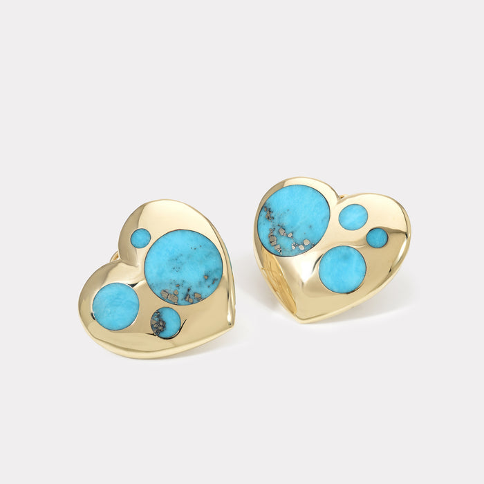 Polka Dot Oversized Heart Earrings - Turquoise