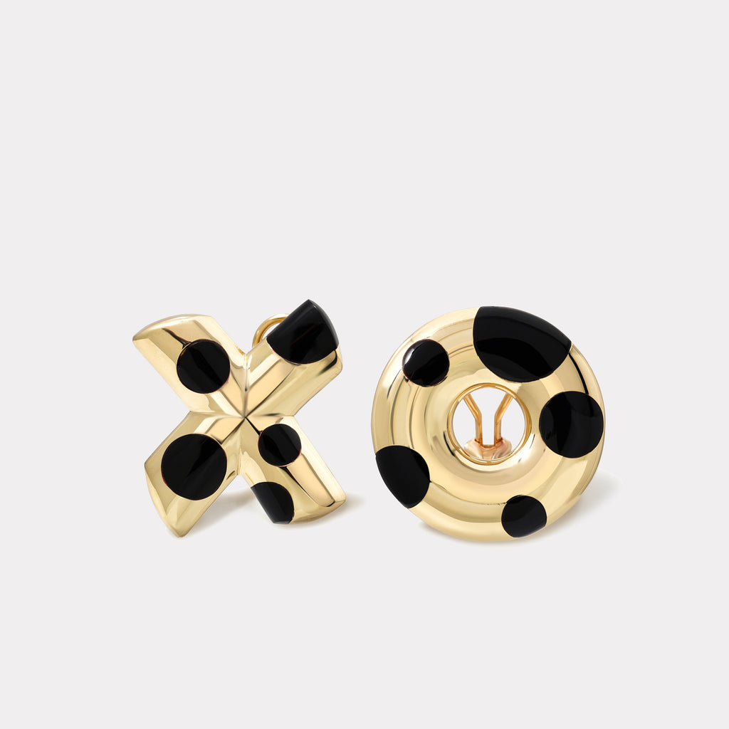 Polka Dot Oversized XO Earrings - Black Onyx