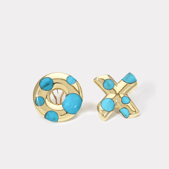 Polka Dot Oversized XO Earrings - Turquoise