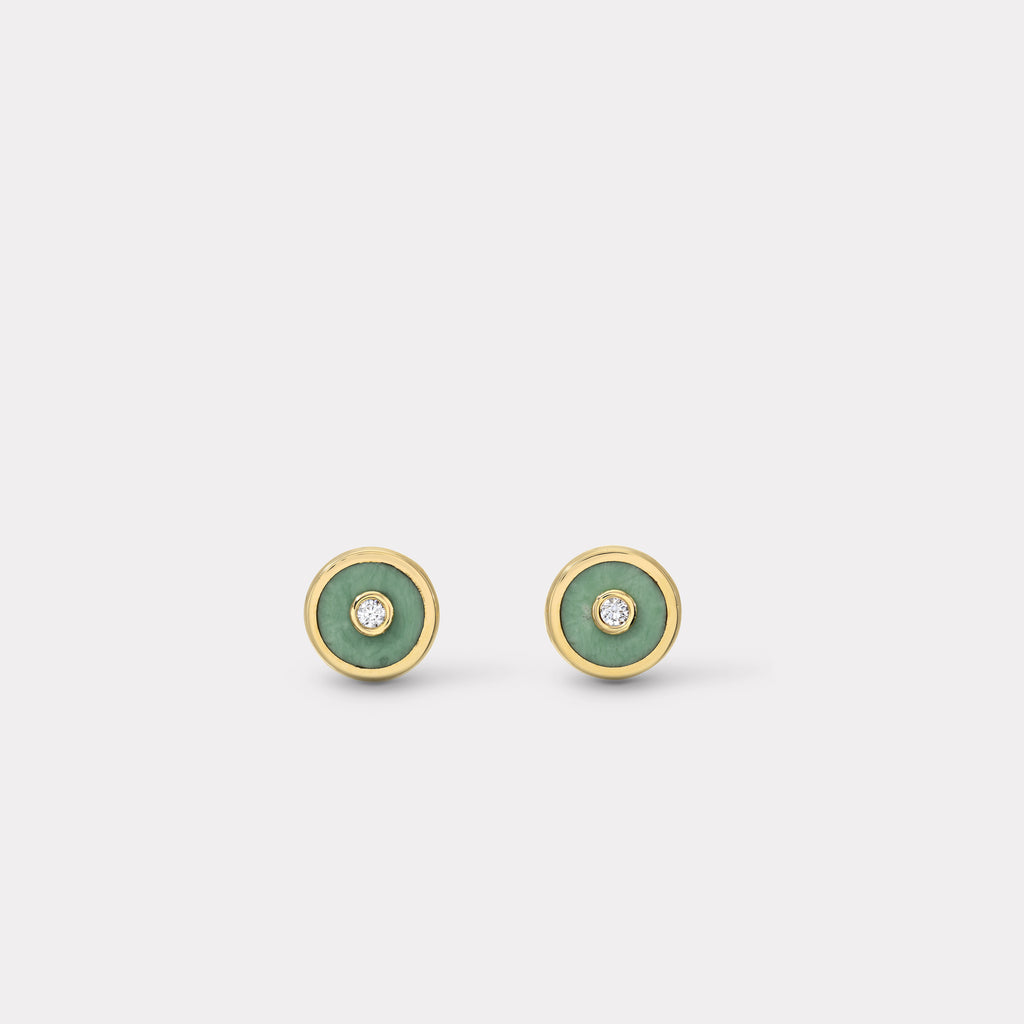 Mini Compass Stud Earrings - Green Turquoise