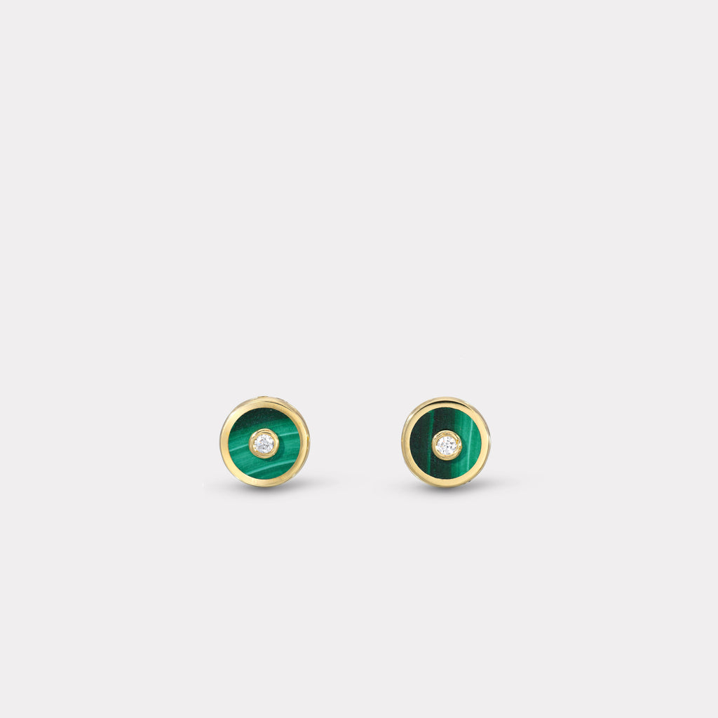 Mini Compass Stud Earrings - Malachite
