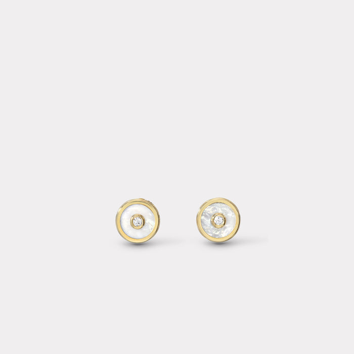 Mini Compass Stud Earrings - White Mother of Pearl