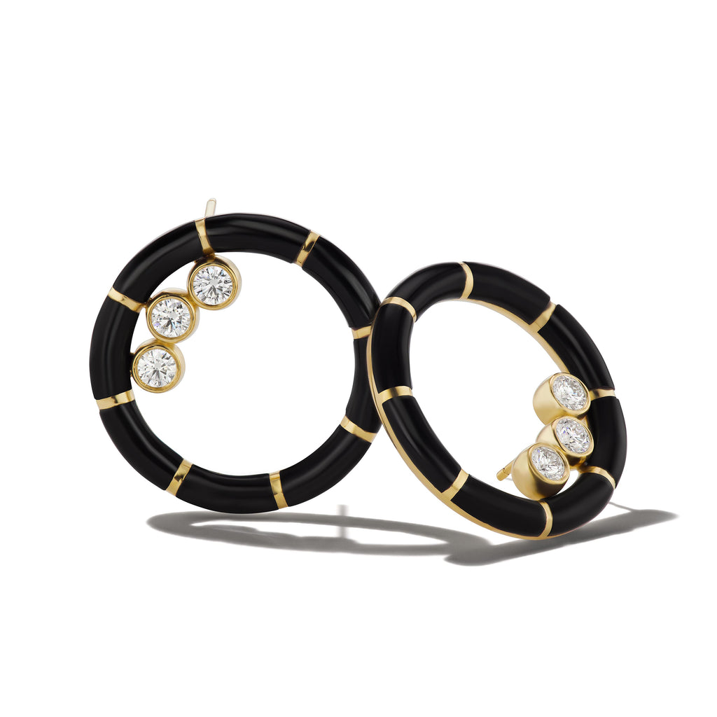 Onyx Striped Hoops with Ethically Mined Round Brilliant Diamonds