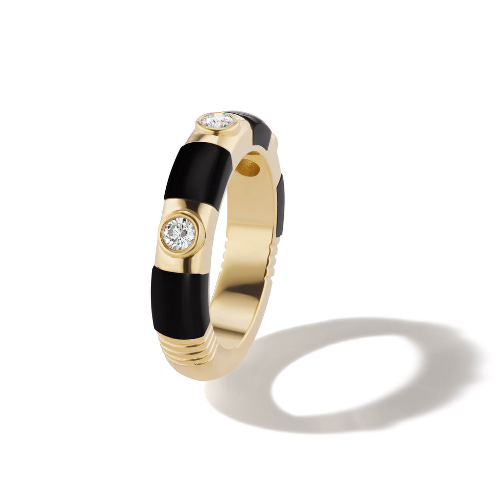 Modern Love Onyx Striped Diamond Band